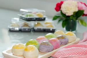 Mochi and flowers photo