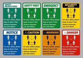 Keep 6 Feet Distance,For your safety,please keep at least 6 feet distance between you and others. vector