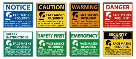Face Masks Required Sign on white background vector