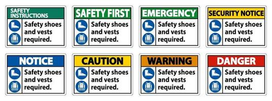 Se requieren zapatos y chaleco de seguridad con símbolos de ppe sobre fondo blanco. vector