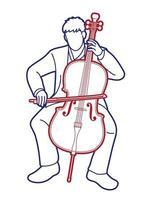violonchelo, músico, orquesta, instrumento, gráfico, vector