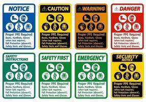 Se requieren botas, cascos y guantes adecuados para el ppe cuando la tarea requiere protección contra caídas con símbolos de ppe vector