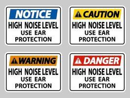 Alto nivel de ruido use protección auditiva sobre fondo blanco. vector