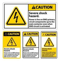 Caution Severe shock hazard sign on white background vector