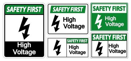 Safety First High voltage Sign Isolate On White Background,Vector Illustration EPS.10 vector