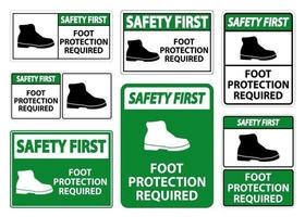 Safety First Foot Protection Required Wall Symbol Sign Isolate on transparent Background,Vector Illustration vector
