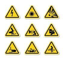 Etiquetas de símbolos de peligro de advertencia triangular sobre fondo blanco