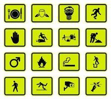 Advertencia peligro símbolos etiquetas signo aislado sobre fondo blanco, ilustración vectorial