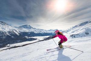 Female skier on track photo