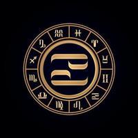 Cancer Luxury Twelve Zodiac Wheel vector