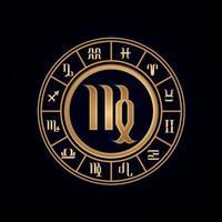 Virgo Luxury Twelve Zodiac Wheel vector