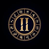 Gemini Luxury Twelve Zodiac Wheel vector