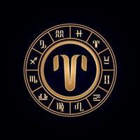 Aries Luxury Twelve Zodiac Wheel vector