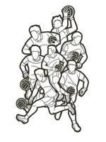 Gaelic Football Men Players Action Outline vector