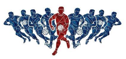 Gaelic Football Men Players Team Running vector