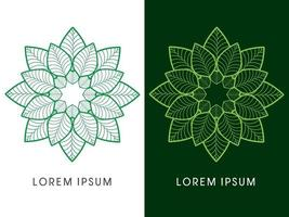 Abstract Flower Luxury Lotus Outline vector