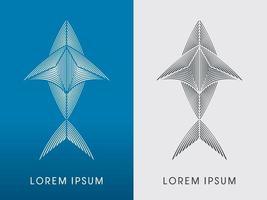 tiburón abstracto o pez moderno vector