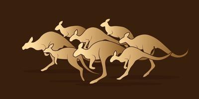 grupo de canguro saltando