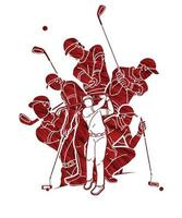 Group of Golfer Action vector