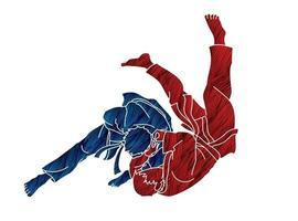 judo lanzando acción deportiva vector