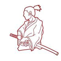 guerreros samuráis listos para luchar vector