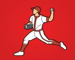 pelota de lanzamiento de jugador de béisbol vector