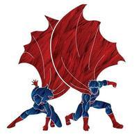 Couple Superhero Landing vector