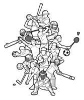 Sports Action Mix Outline vector
