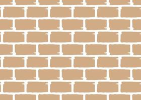 Hand drawn, brown, white brick wall seamless pattern vector