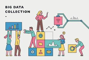 People collecting big data. Web banner concept. vector