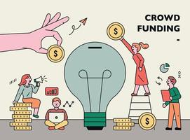 Crowd funding web banner template vector