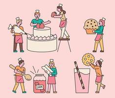bakery people cooking food vector