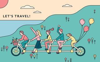 gente montando bicicleta juntos vector