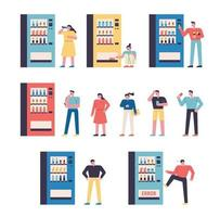 set of vending machines and people vector