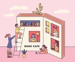 ventanas en un libro abierto con gente leyendo vector