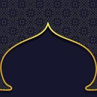 Dark blue Ramadan geometric motif in arabesque door shape background with golden color frame vector