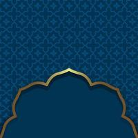 Islamic style. Dark blue background. Arabic traditional oriental ornamental background with gold frame vector
