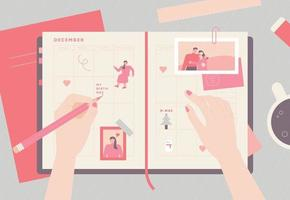 cute hand writing on a diary top view. vector