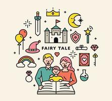 Parents reading a book for the baby. fairy tale icons set. vector