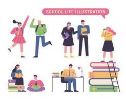 conjunto de caracteres del estudiante de la escuela vector