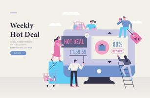 shopping event promotion illustration. web page concept template. vector