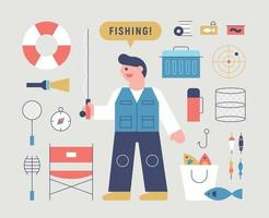 Fisher man character with fishing gear. vector