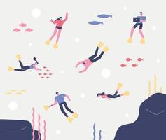 People scuba diving and exploring the sea. vector