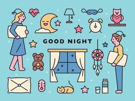 sleep icons and characters on pajamas vector