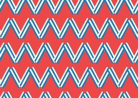 Hand drawn, red, blue, white zigzag pattern vector