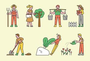 Cute farmer icon set.