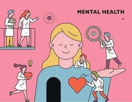 Ilustración del concepto de salud mental con médicos que cuidan a una niña vector
