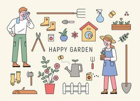 Man and woman characters gardening with tools