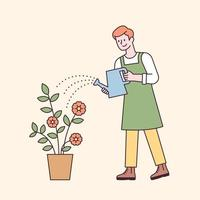 A man in an apron watering a flower pot. flat design style minimal vector illustration.