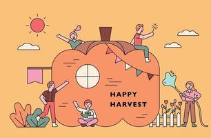 cartel de concepto de cosecha de otoño. vector